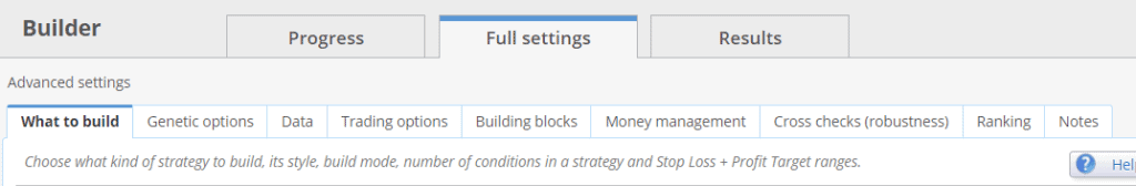 StrategyQuant settings