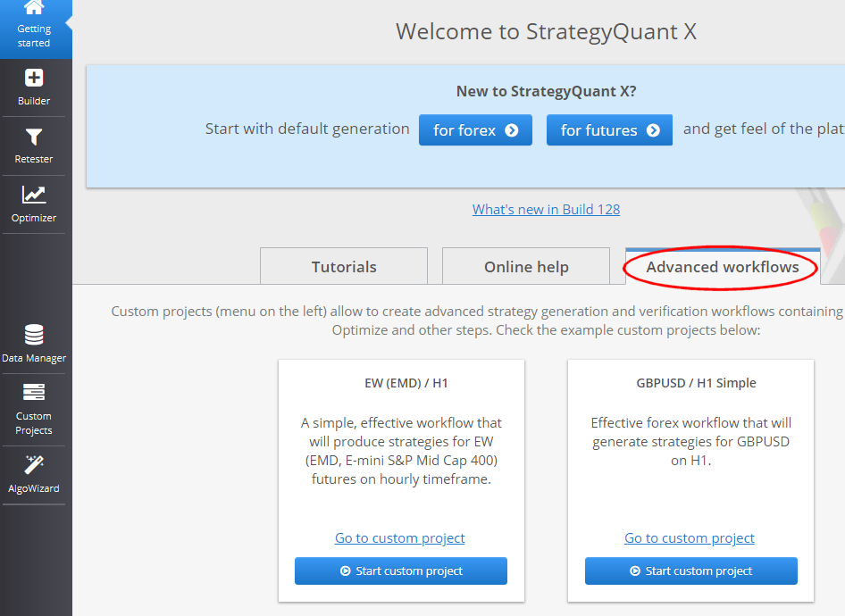 StrategyQuant custom project workflow examples