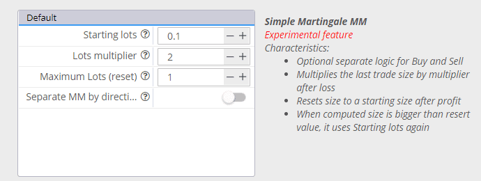 Strategyquant Simple Martingale Money Management