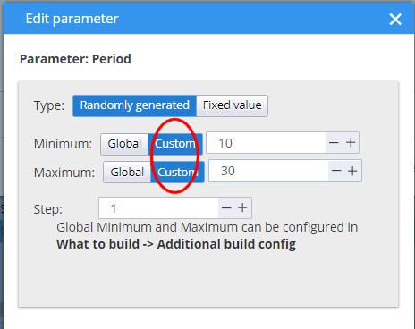 Custom parameter ranges for blocks