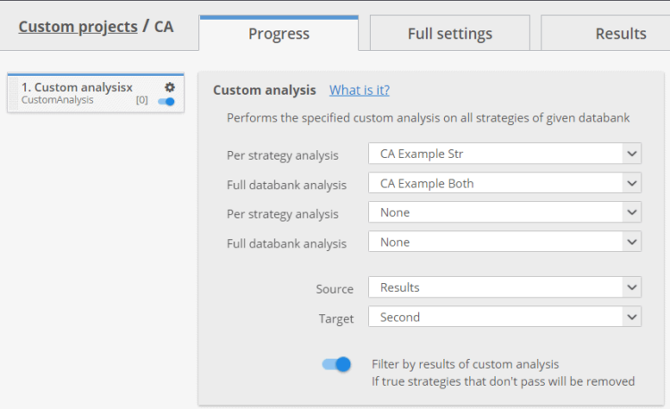 Custom analysis databank