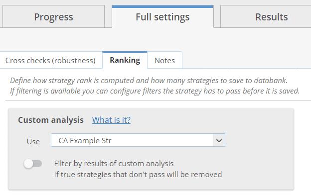 Custom analysis ranking